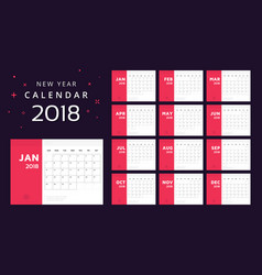 calendar for 2018 white and red background vector image