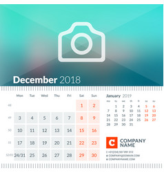 December 2018 calendar for 2018 year week starts vector