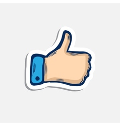 Doddle blue hand or thumb up icon with shadow vector