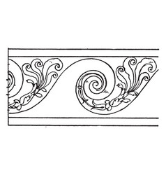 Evolute spiral border is a wavelike pattern vector