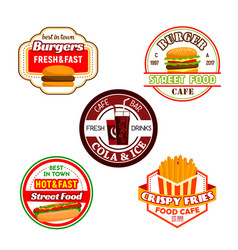 Fast food burger snack and soda drink label design vector
