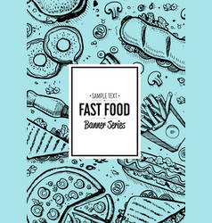 fast food menu cover in vintage style vector image vector image