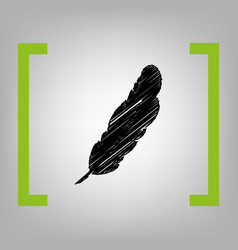 Feather sign black scribble vector