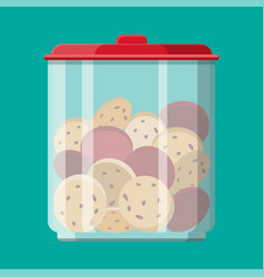 glass jar with choclate cookies inside vector image vector image