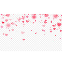 heart confetti falling on transparent background vector image