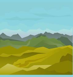 High green mountains landscape with blue sky vector
