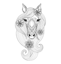 Horse coloring page with horse face hand vector