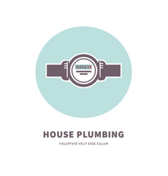 House plumbing agency emblem with water counter vector