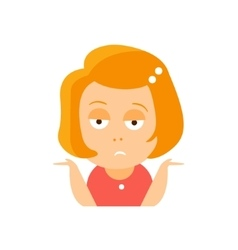 Little red head girl in red dress upset flat vector