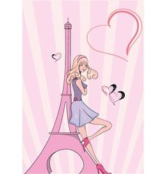 Paris doodles with lady vector