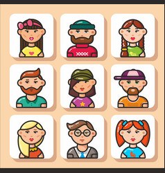 people face icons 11 vector image
