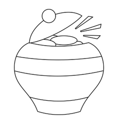 Pot of gold icon outline style vector