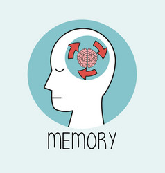 profile human head brain memory vector image