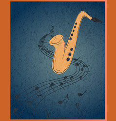 Saxophone and musical notes on blue grunge vector