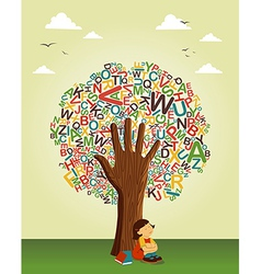 school education tree hand vector image vector image