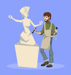 Sculptor holding chisel and hammer vector