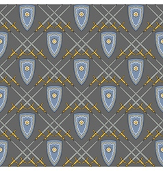 seamless pattern with medieval shield and swords vector image vector image