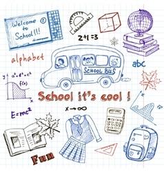 Set of school drawings on chalkboard sketches vector