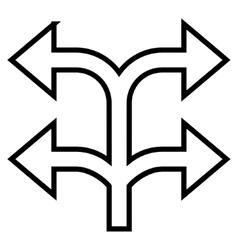 Split arrow left right thin line icon vector
