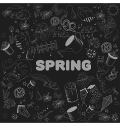 Spring chalk line art design vector