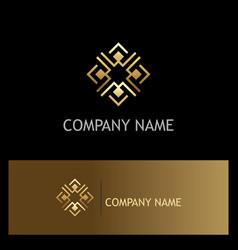 square gold decoration logo vector image