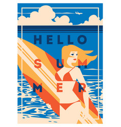 Summer holiday and summer surf camp poster vector