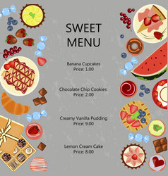 sweet restaurant menu template vector image vector image