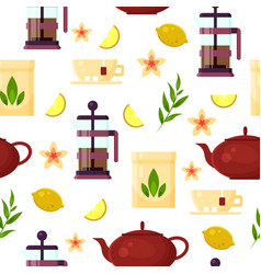 tea ceremony - teapot french press cup lemon vector image vector image