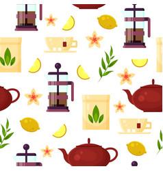 tea ceremony - teapot french press cup lemon vector image