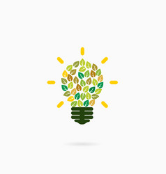 Think green idea concept logoabstract green bulb vector