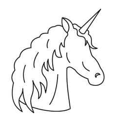 Unicorn icon outline style vector