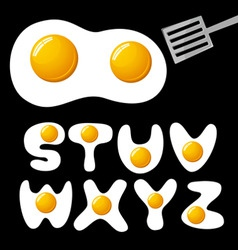 vector fried eggs alphabet vector image