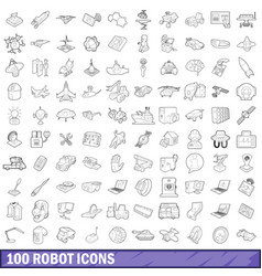 100 robot icons set outline style vector