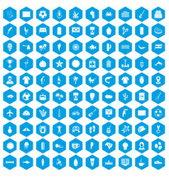 100 south america icons set blue vector