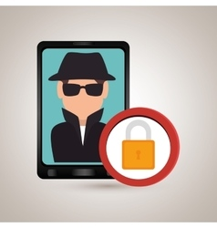 Man smartphone detective secure vector