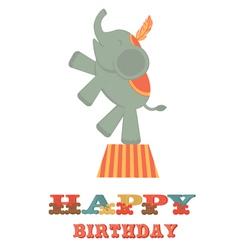 Birthday card with elephant vector image