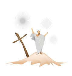 Jesus Christ with Wooden Cross on A Mountain vector image