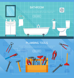 Bathroom plumbing banners set vector