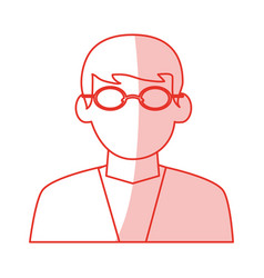 Red shading silhouette cartoon half body dentist vector