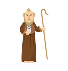 Elderly man shepherd christian character vector