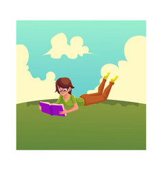 Girl woman in glasses reading a book lying on vector