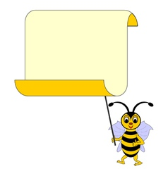 A funny cartoon bee with a big blank paper vector