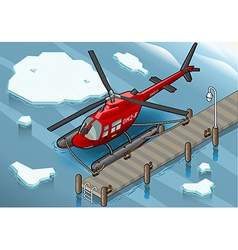 Isometric Arctic Emergency Helicopter at Pier vector image