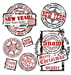 Cristmas and new year emblems vector