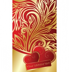 abstract ornate background with hearts vector image