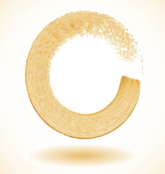 Gold paintbrush circle frame vector