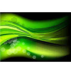 Green neon light on the black vector