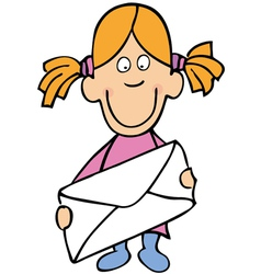 little girl with envelope vector image