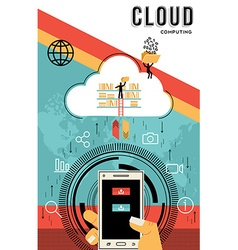 Cloud computing design download data from phone vector