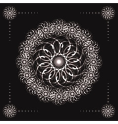 Abstract fractal flowers on black background vector image